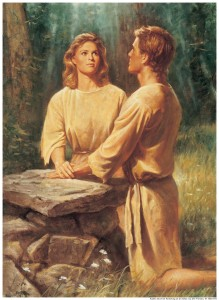 A painting of Adam and Eve kneeling at an alter.