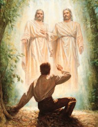 A painting depicting Joseph Smith's first vision of God the Father and Jesus Christ, His Son.