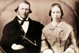 A photo of Brigham Young seated with his wife.