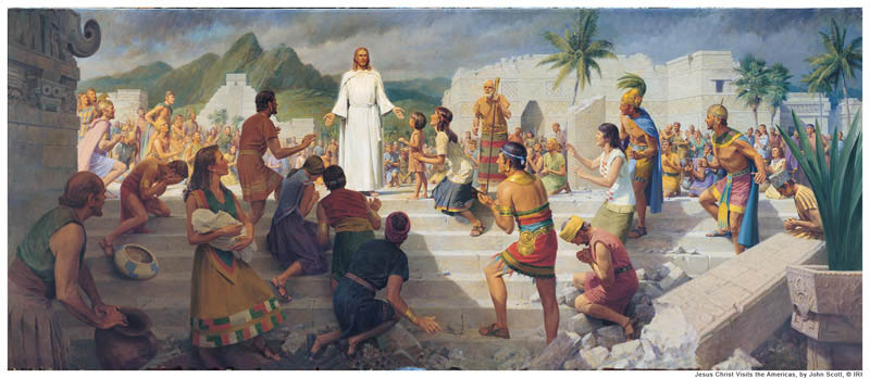 A painting depicting Jesus appearing to the people in the American continent.