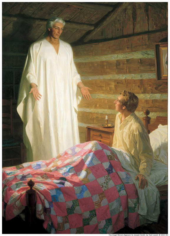 A painting depicting Moroni when he visited Joseph Smith Jr.