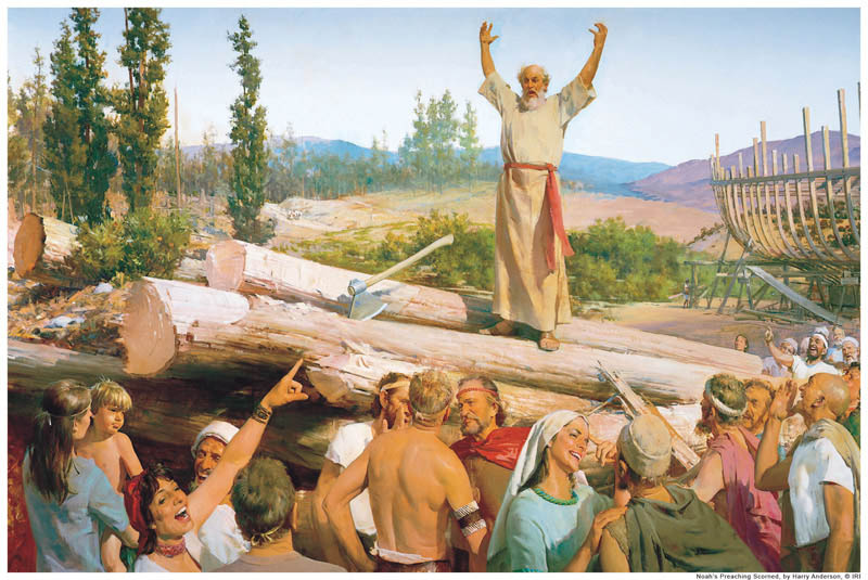 A painting depicting Noah prophesying to the people.