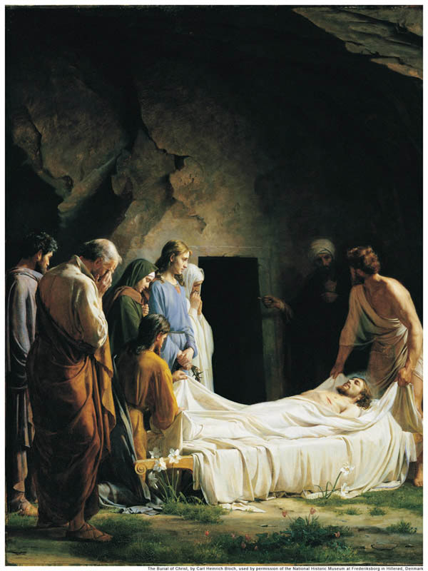 A painting depicting the burial of Jesus Christ by his followers.