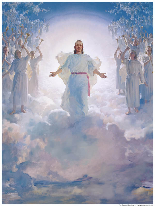 A painting depicting the second coming of Christ. He will descend with concourses of angels.