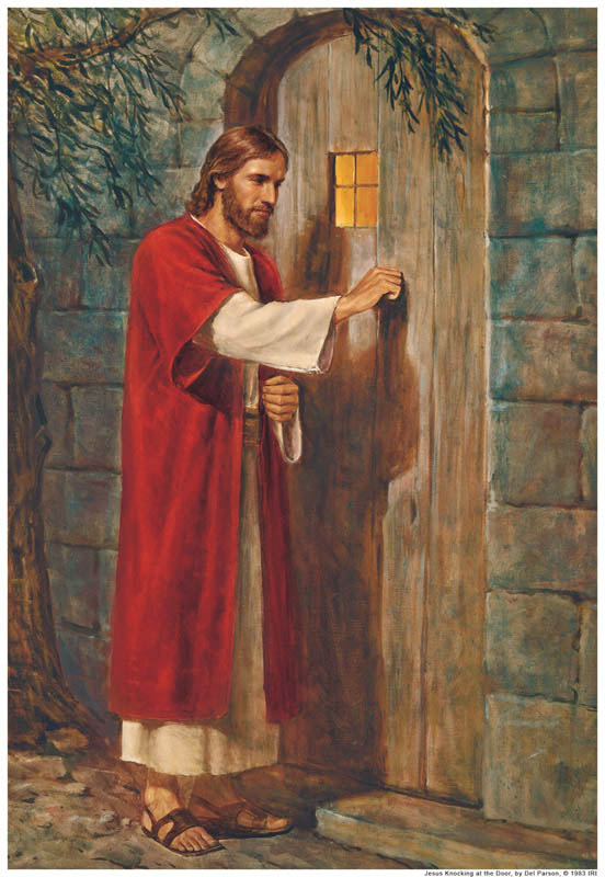 A painting depicting Jesus Christ knocking at a door that has no handle.