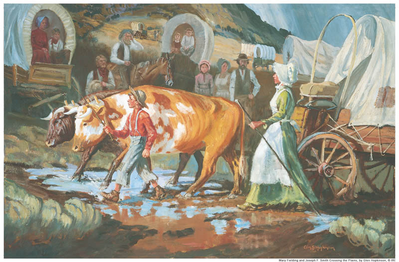 A painting of Mary Fielding Smith walking the plains with her son, covered wagon, and oxen.