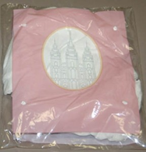 A photo of a package of Mormon undergarments for women.