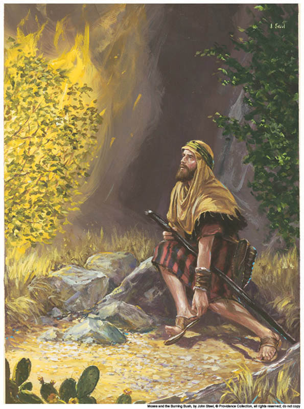 A painting depicting Moses seeing the burning bush.