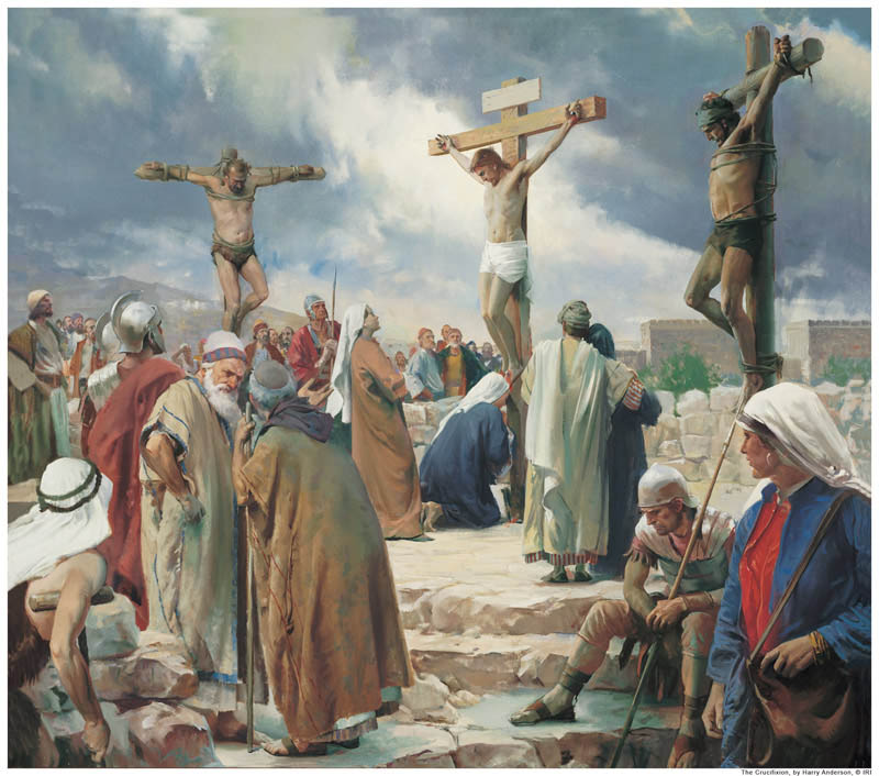 A painting of the crucifixion of Jesus Christ.