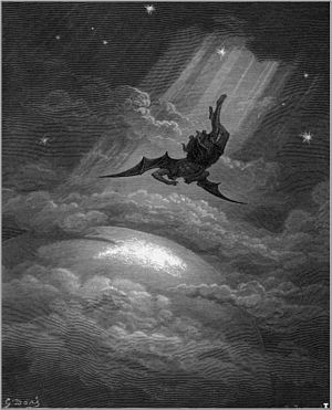 A painting by Dore, depicting Satan being cast out of the heavens.