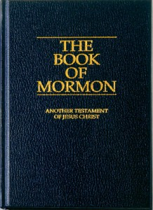 A photo of The Book of Mormon, hardback, blue edition.