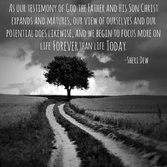 """As our testimony of God the Father and His Son Christ expands and matures, our view of ourselves and our potential does likewise, and we begin to focus more on life forever than life today."" - Sheri Dew; A black and white photo of a tree at the end of a dirt road."